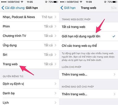 Cách chặn trang web phim đen trên điện thoại iphone samsung android