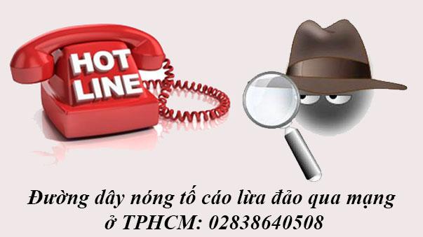 số điện thoại đường dây nóng tố cáo lừa đảo qua mạng TPHCM